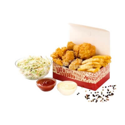 Box with fried chicken