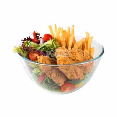 crispy chicken and fries salad